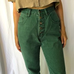 VINTAGE   High waisted exposed button fly jeans